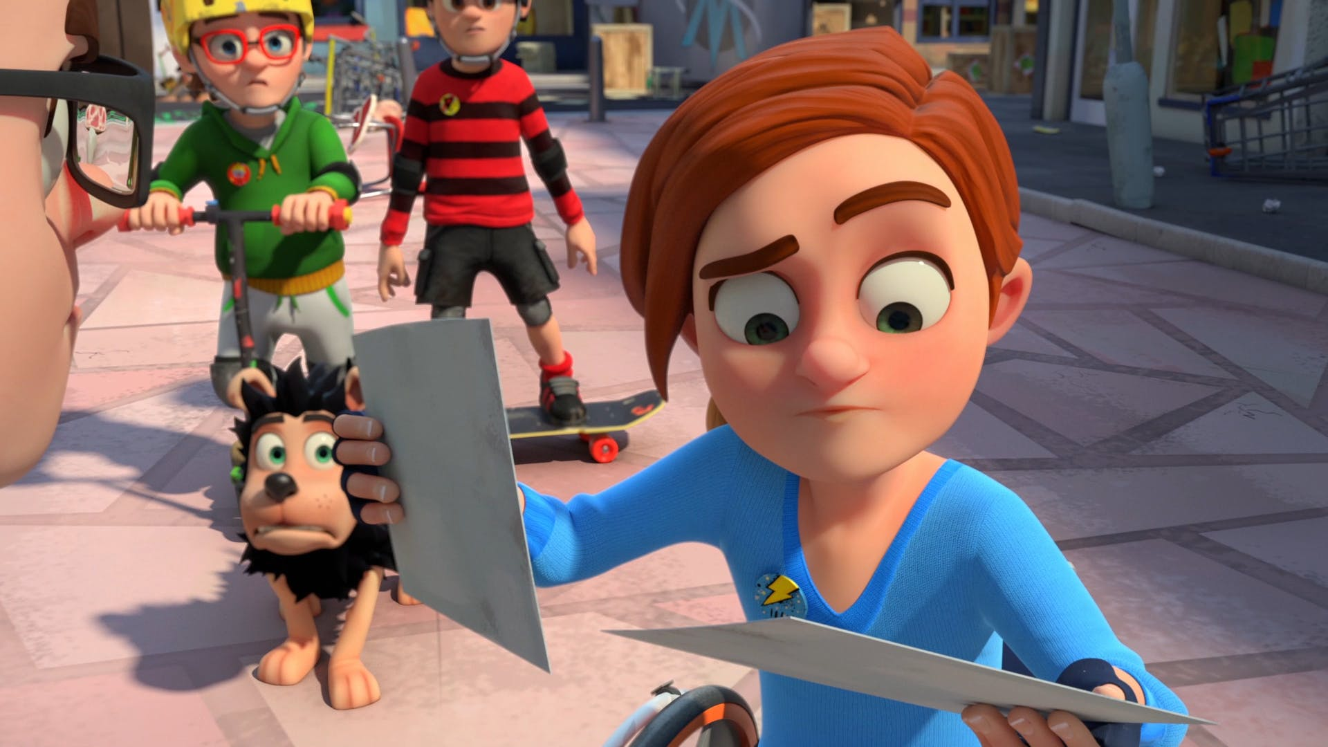 Rubi tries to solve the clues in Dennis & Gnasher Unleashed!