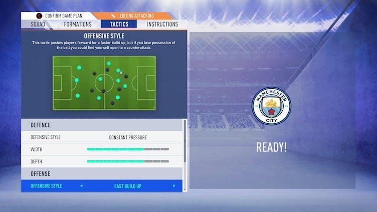 A FIFA tactics screen