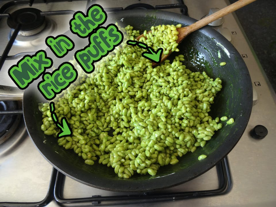 Mix in enough rice puffs to be covered by the sticky mixture