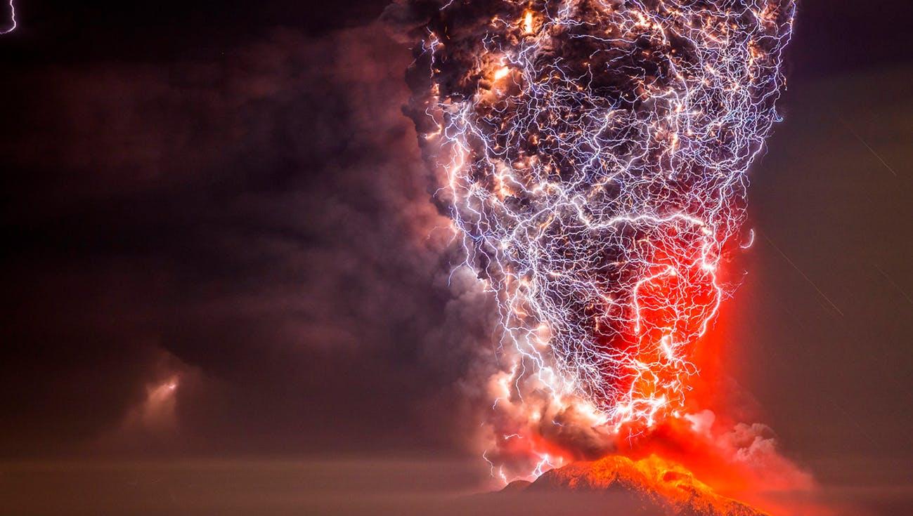 Volcano being struck by lightning