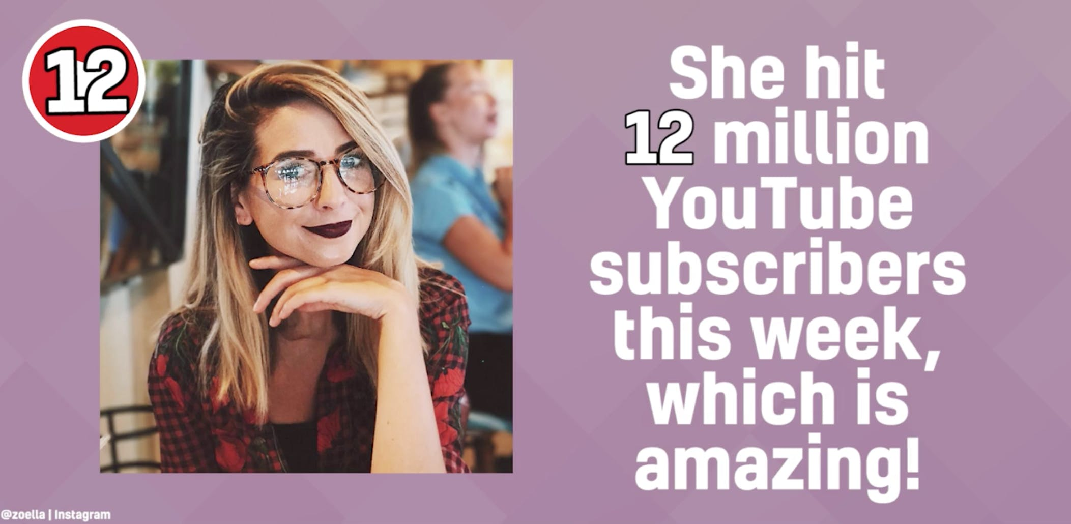 Zoella, YouTube beauty vlogger, has 12 million subscribers