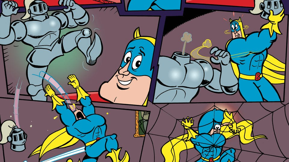 Bananaman loses his head when he infiltrates Dr Gloom's Hideout