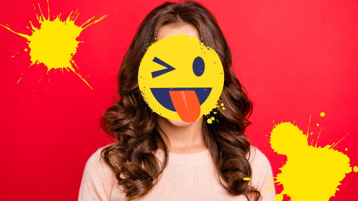Winky smiley over woman on red background