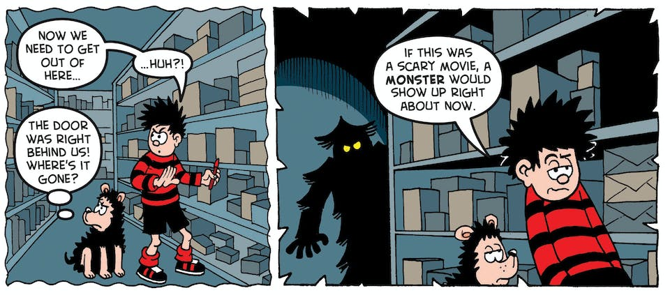 2.Dennis is sent into the school stationery cupboard – a spooky, mysterious place!