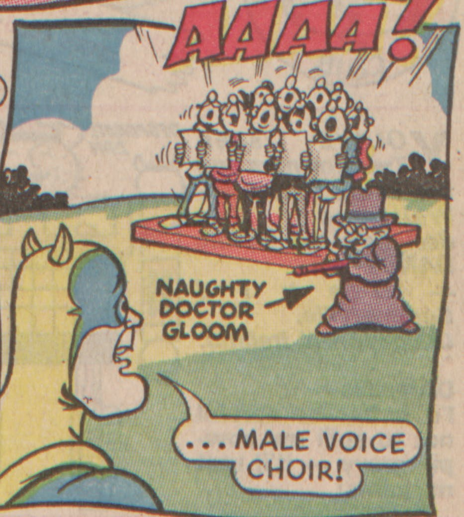 Bananaman 1985 - A sneezing male choir!