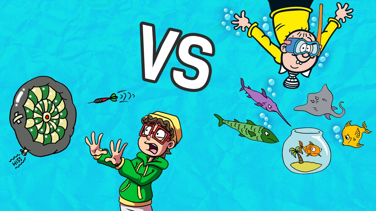 Inflatable Dartboard or Underwater Fishbowl- Pieface and Smiffy go Head2Head
