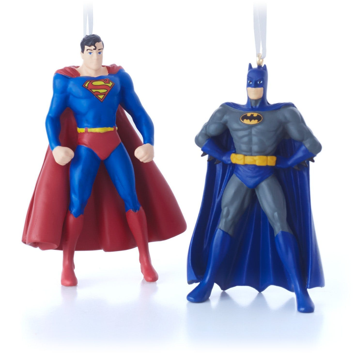 Superman and Batman Christmas ornaments