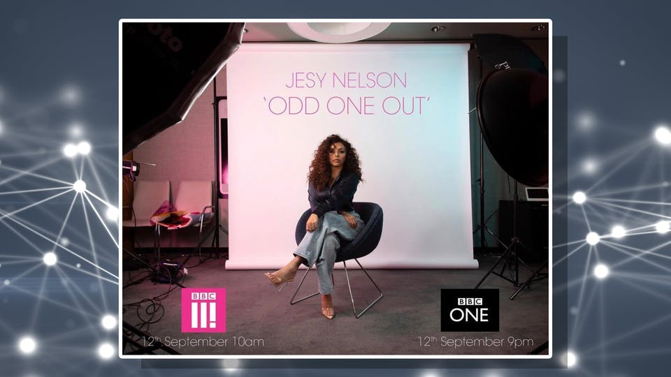 A promotional image for Jesy Nelson's BBC documentary Odd One Out