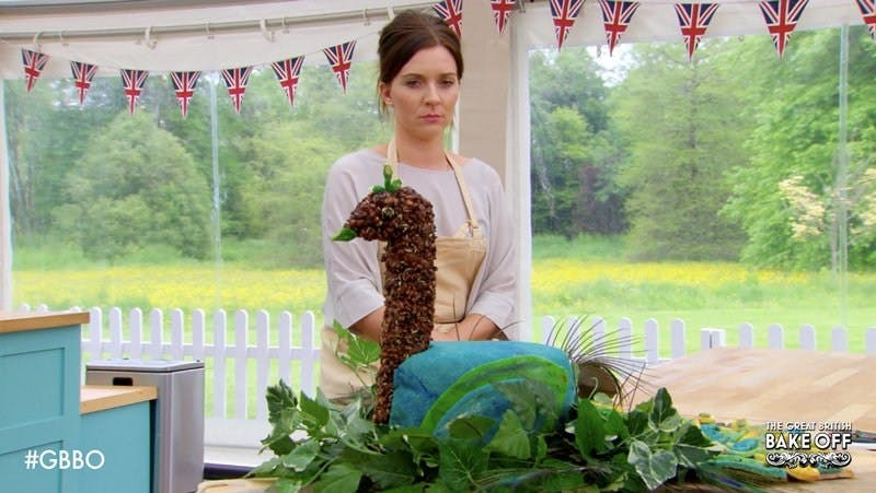GBBO winner Candice Brown and a 3D peacock