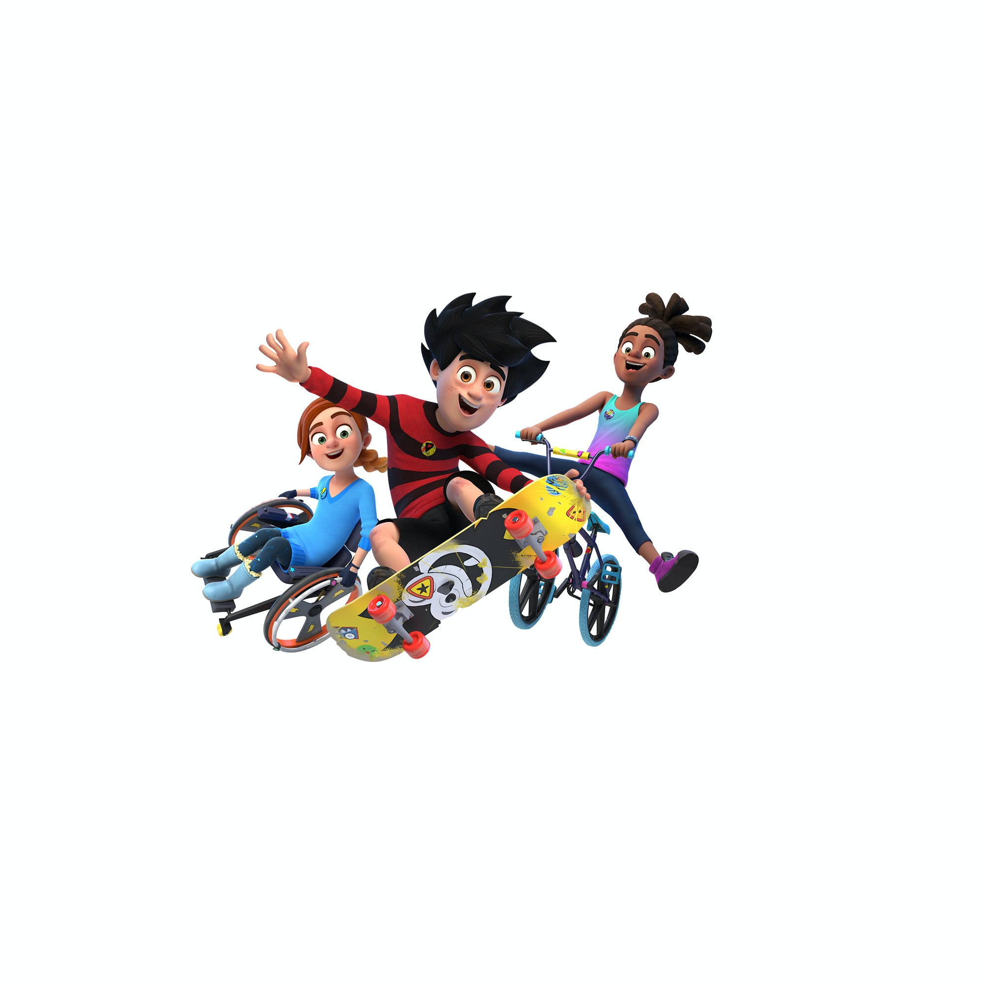 Dennis, Rubi and JJ fromDennis and Gnasher Unleashed