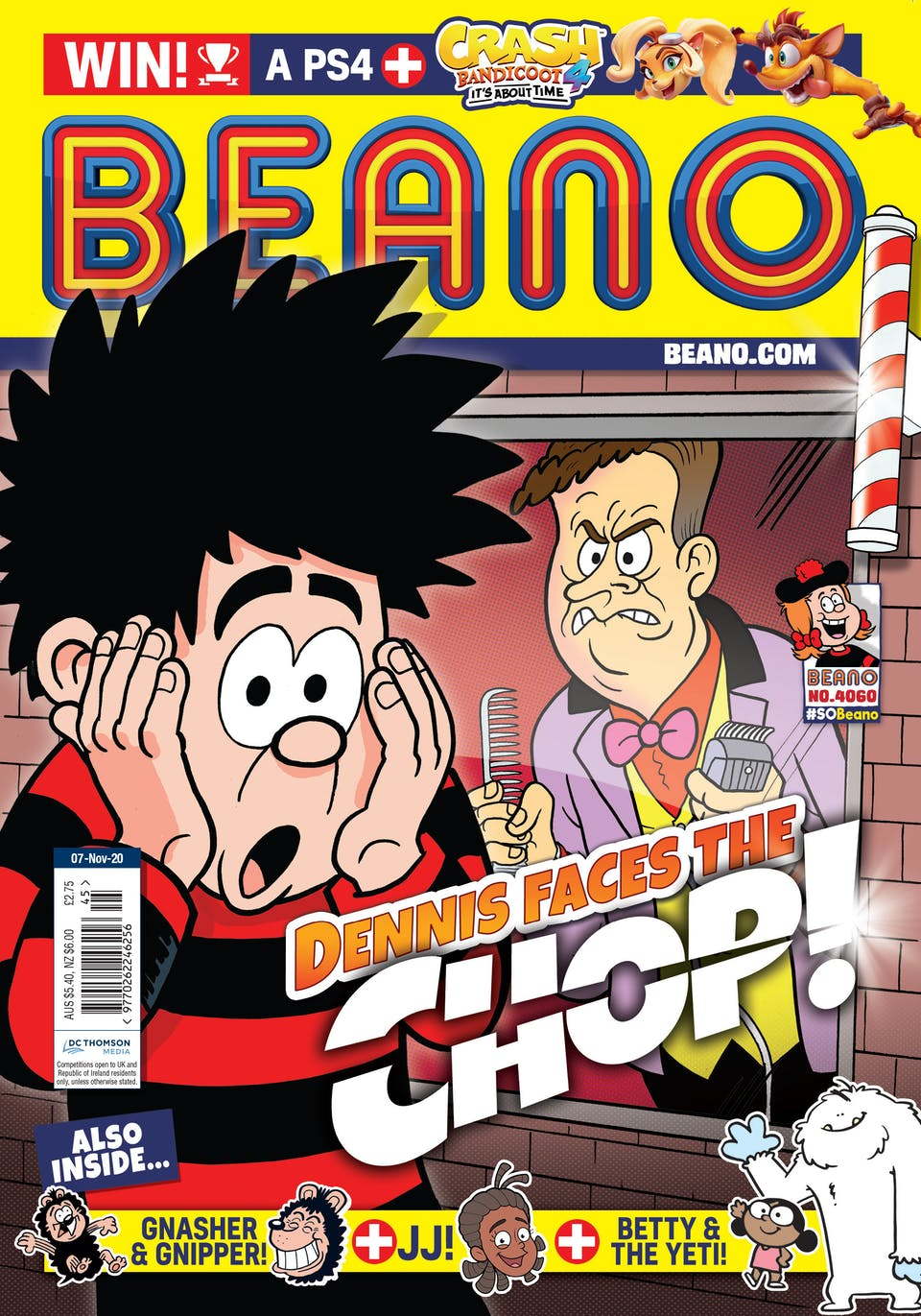 Inside Beano no. 4060 - Dennis is facing the chop!