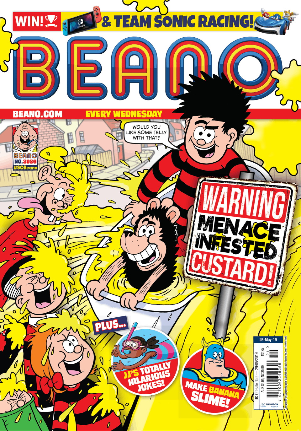 Inside Beano no. 3986: Menace Infested Custard!