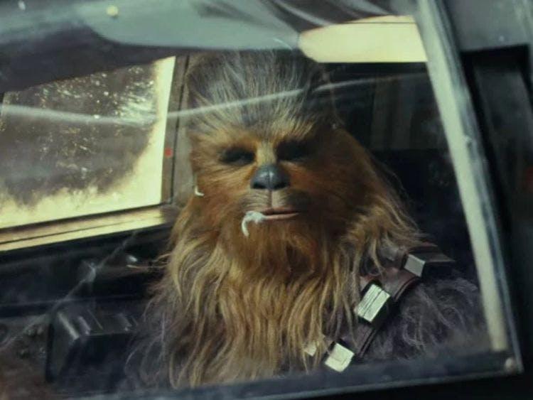 Chewbacca scoffing a Porg