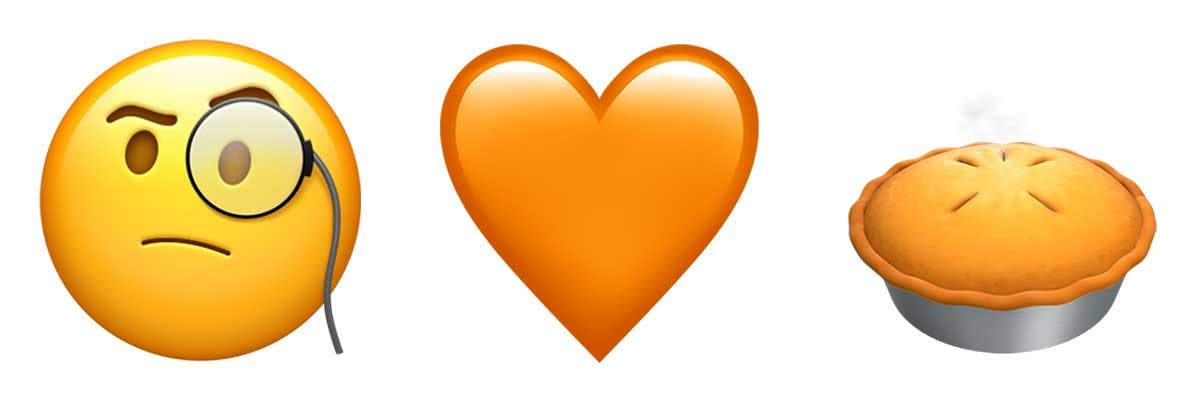A face with a monocle on! An orange heart! A pie!