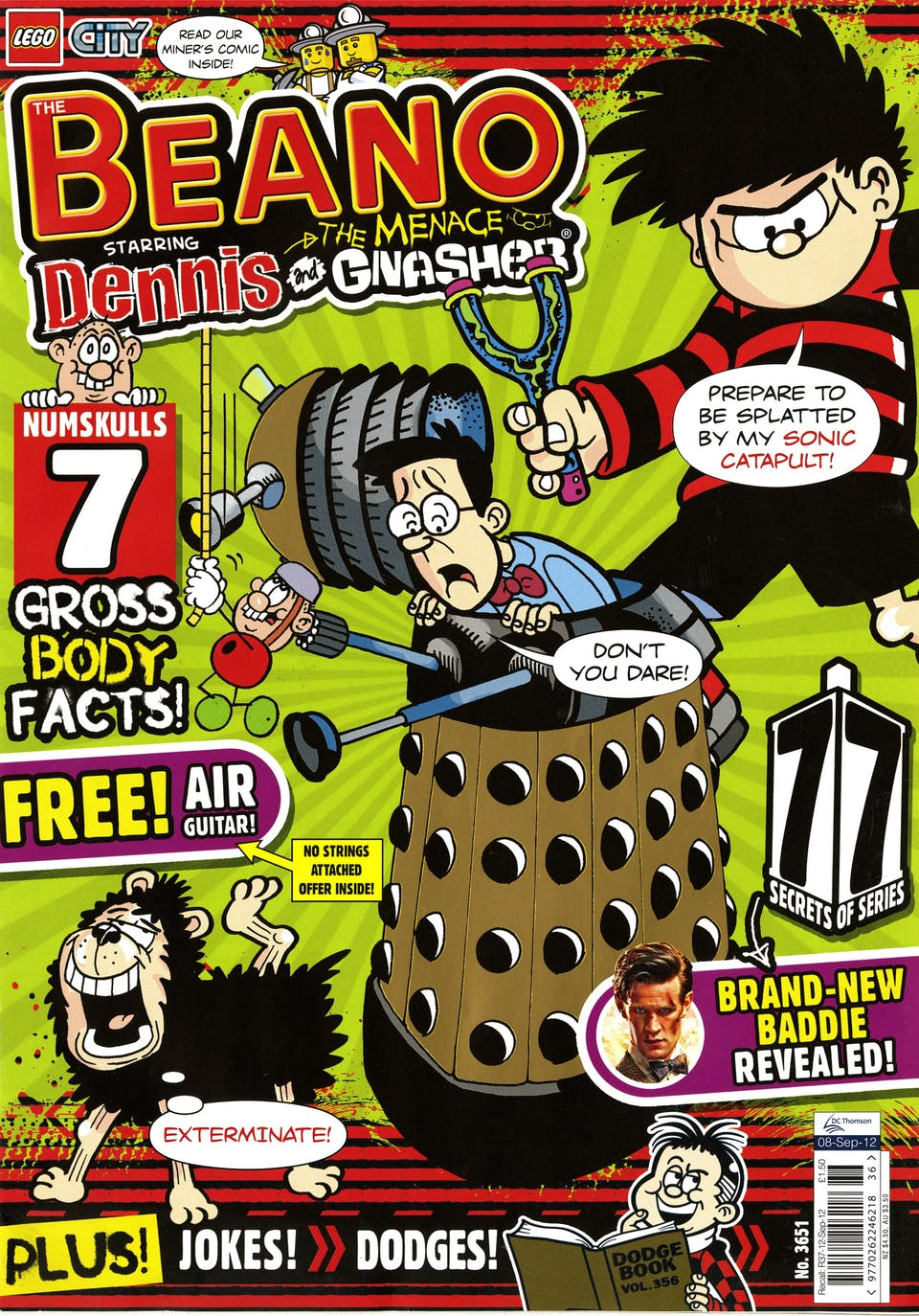 Walter and Dennis appear on the Doctor Who-themed cover of Beano issue 3651 published September 12, 2012