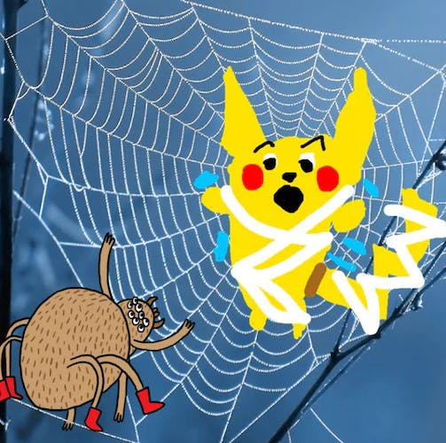 Pikachu caught in a spiders web - Complete the Drawing