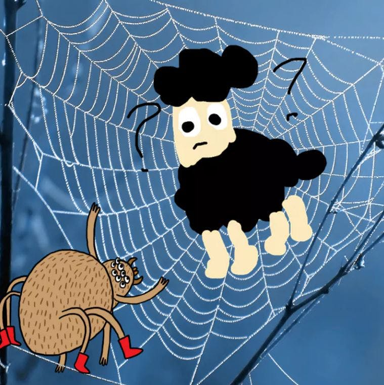 Gnasher caught in a spider's web - Complete the Drawing