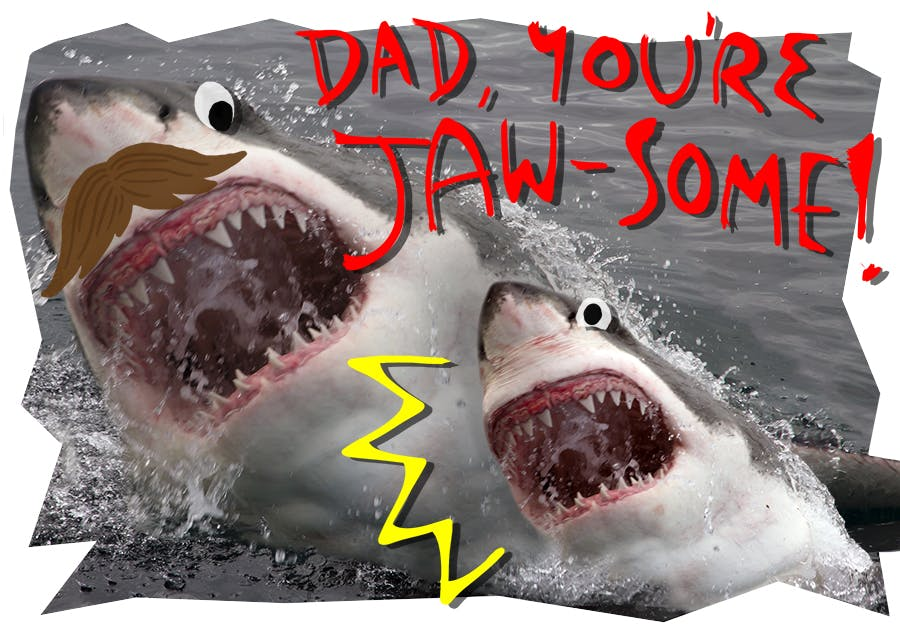 Father's day card with a dad and a kid shark having a lot of fun splashing around in the water