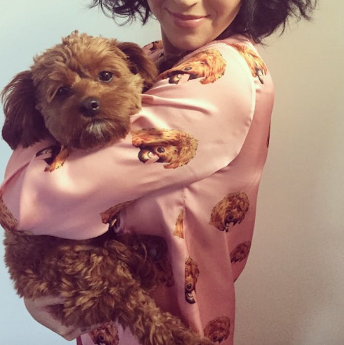 Katy Perry holds her tiny dog Butters for an Instagram photo