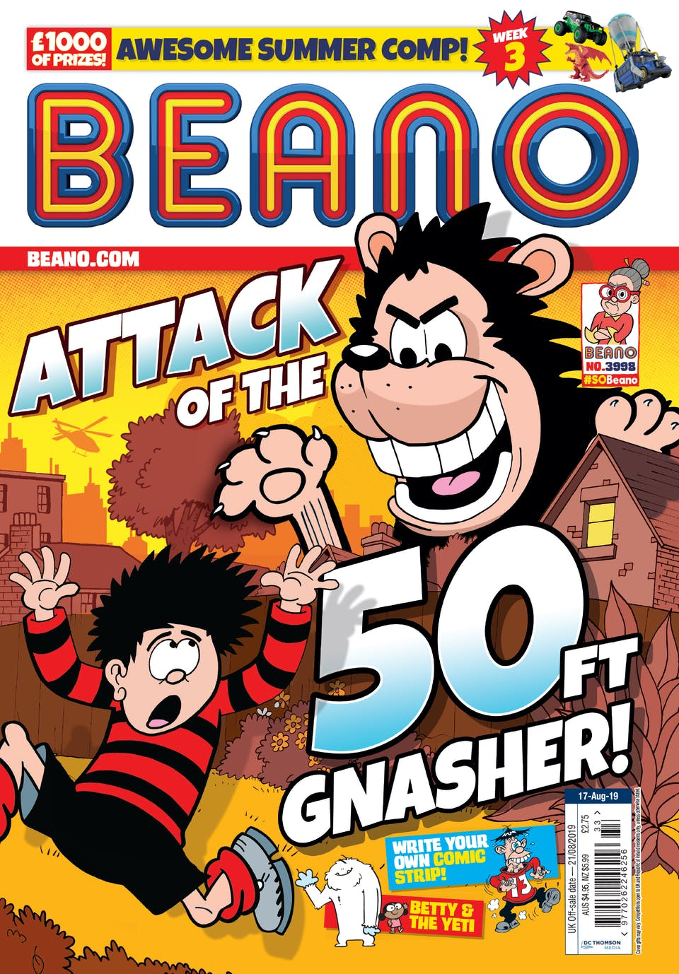 Beano 3998 - Attack of the 50ft Gnasher!