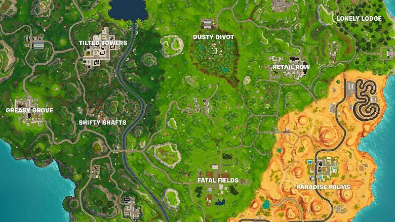 Altered map in Fortnite