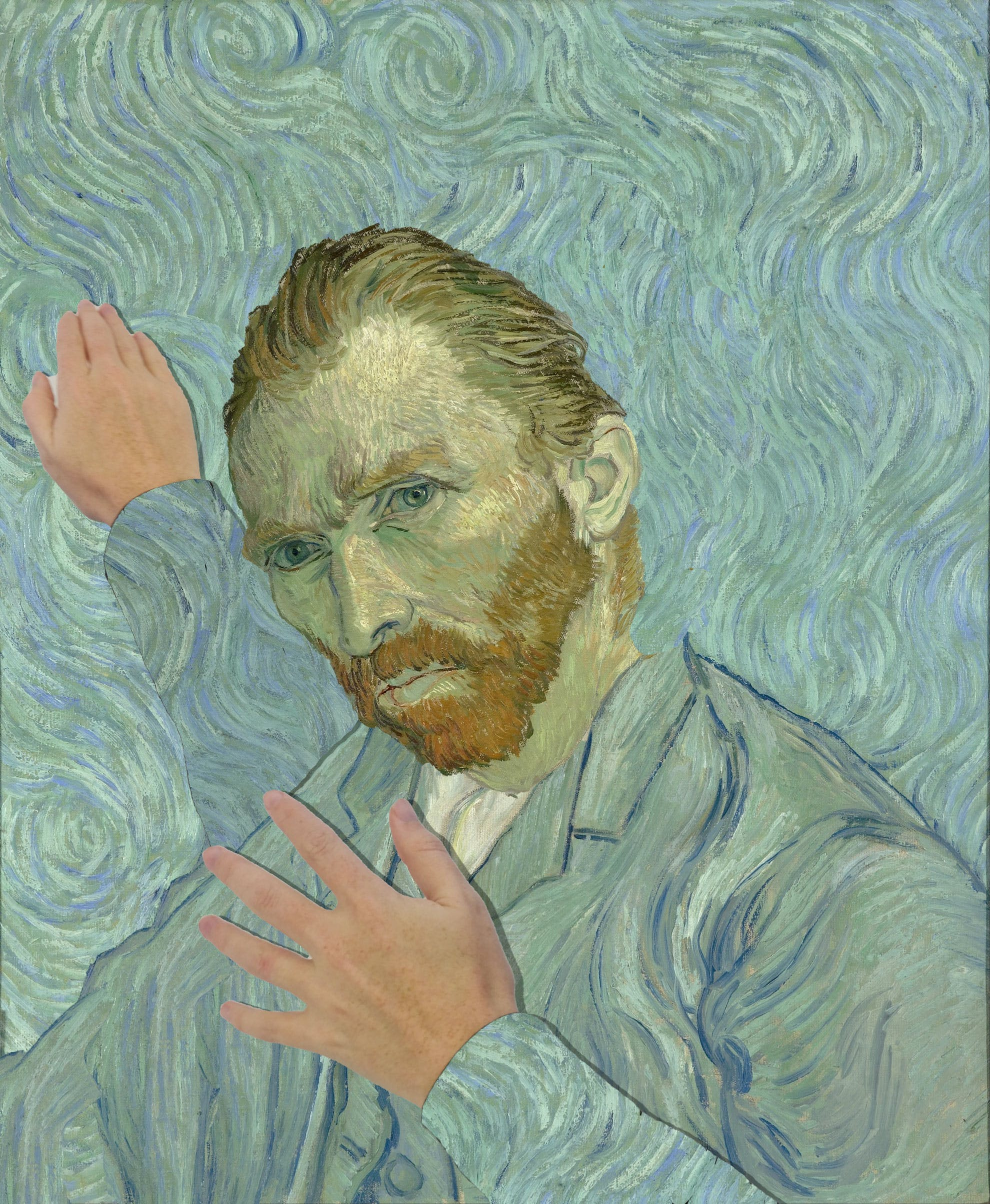 Van Gogh's self-portrait, with dabbing