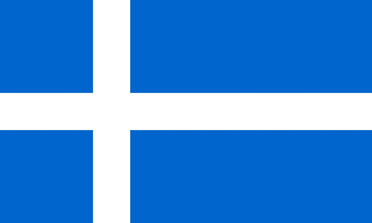 A blue flag with a white cross