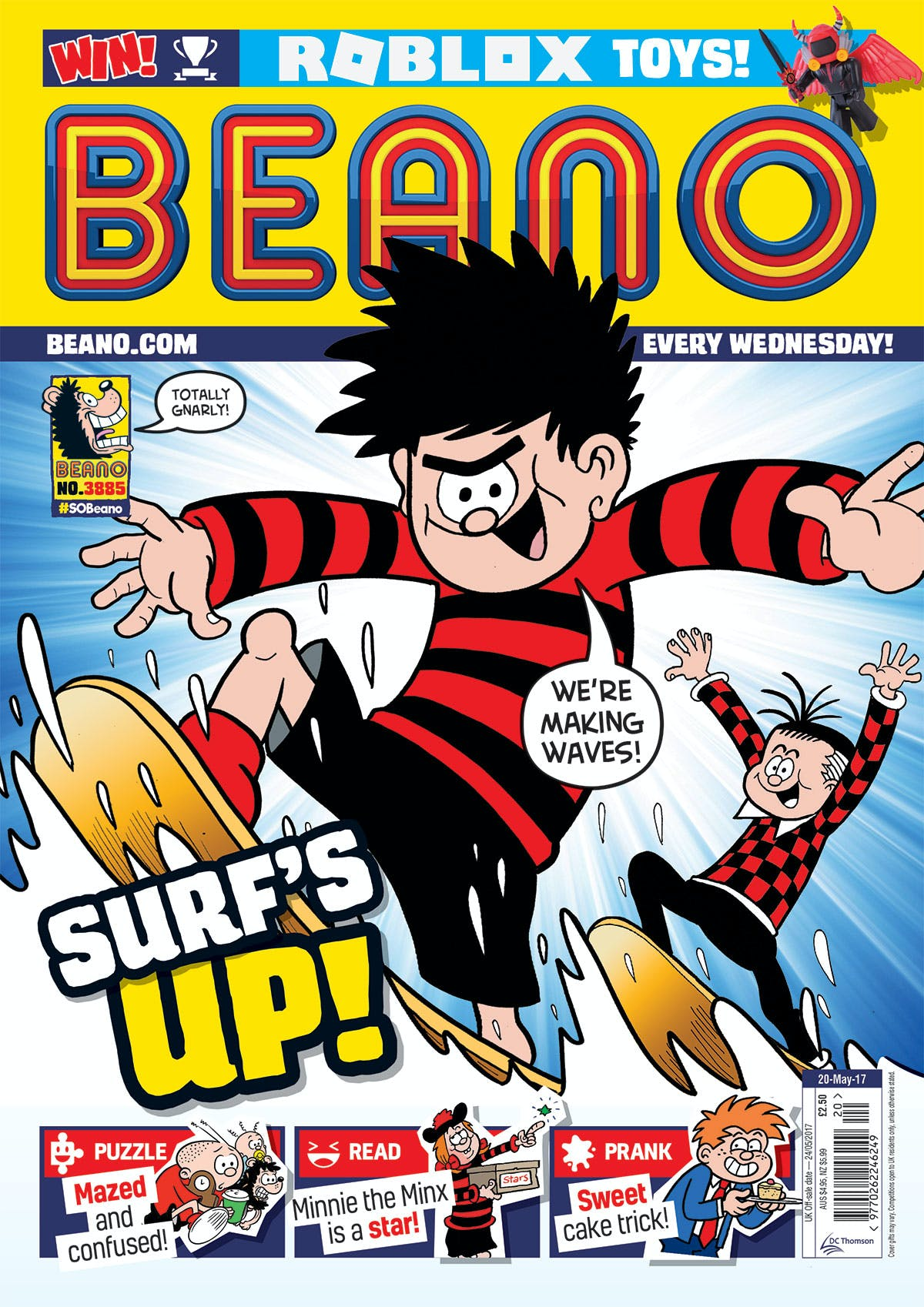 Beano 20 May 2017 Dennis the Menace surfing