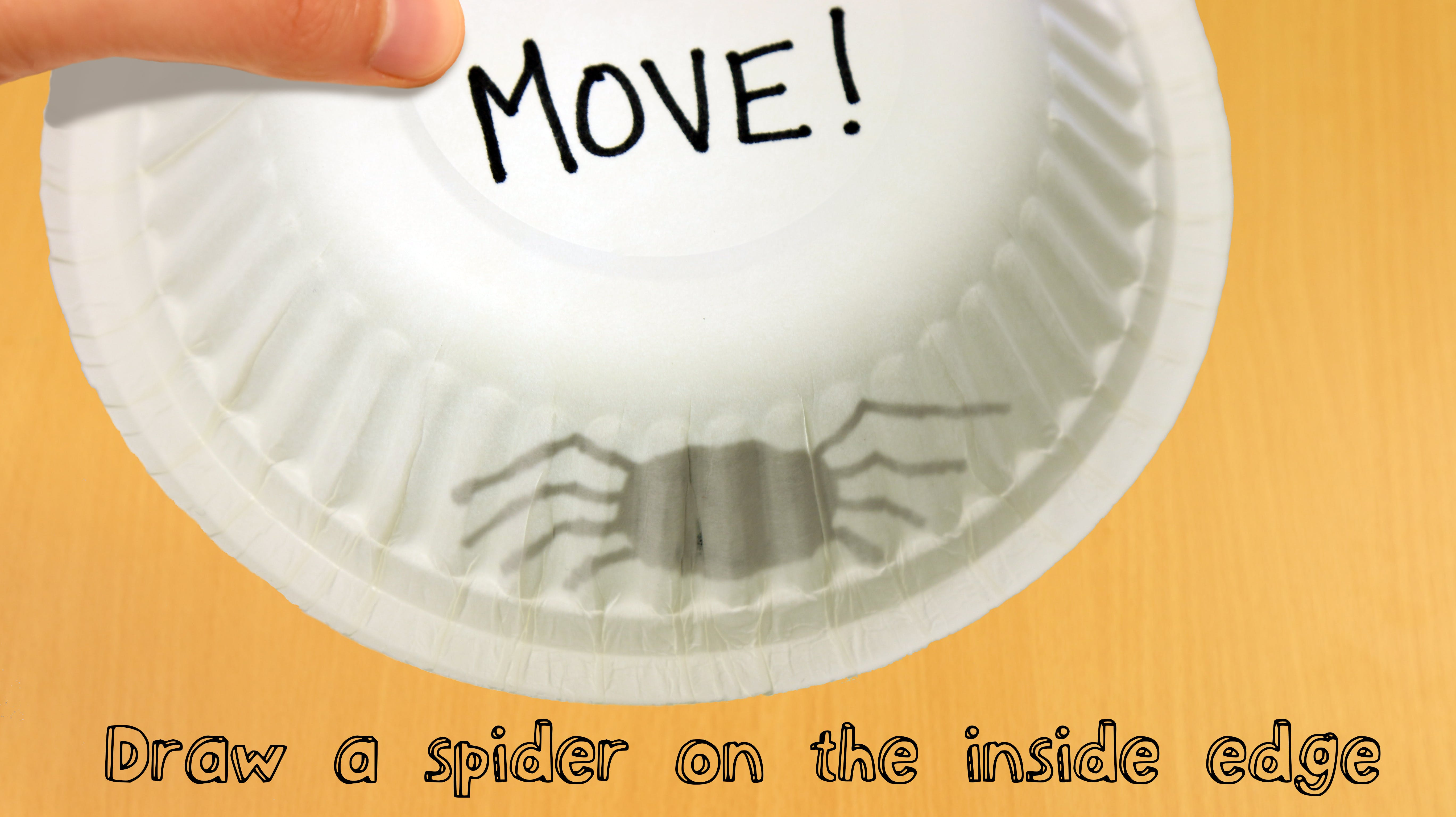 Using your felt tip pen, draw a spider inside the bowl, so that it looks like a shadow from the outside.