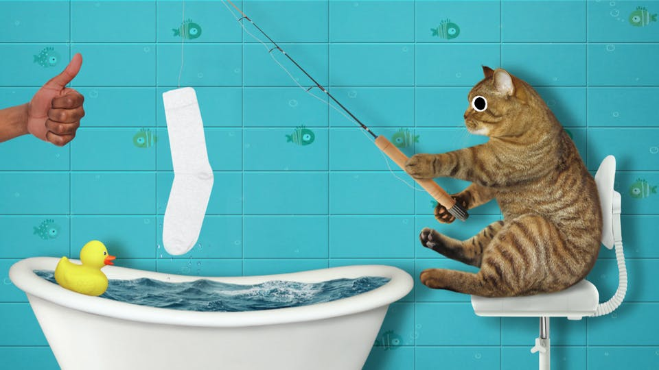 A cat fishing for socks in a bath