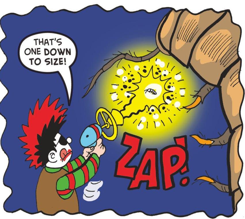 Dennis zaps a bug!