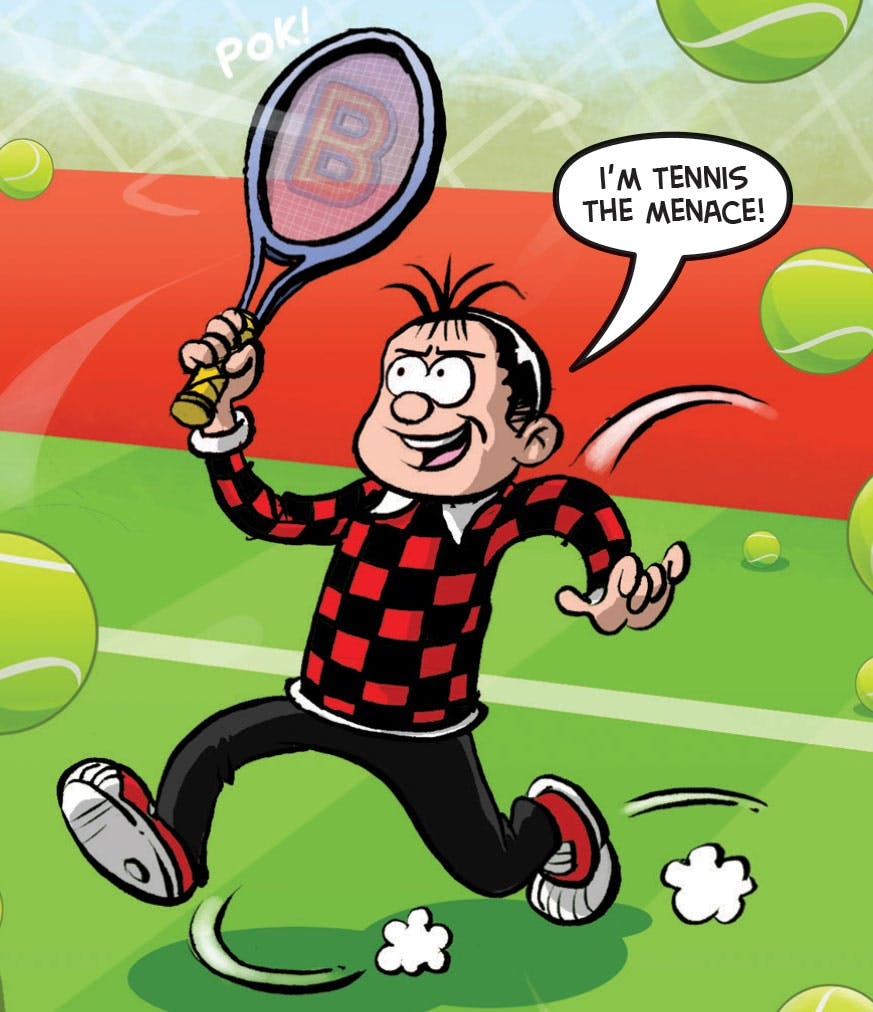 Roger the Dodger from Beano playing tennis