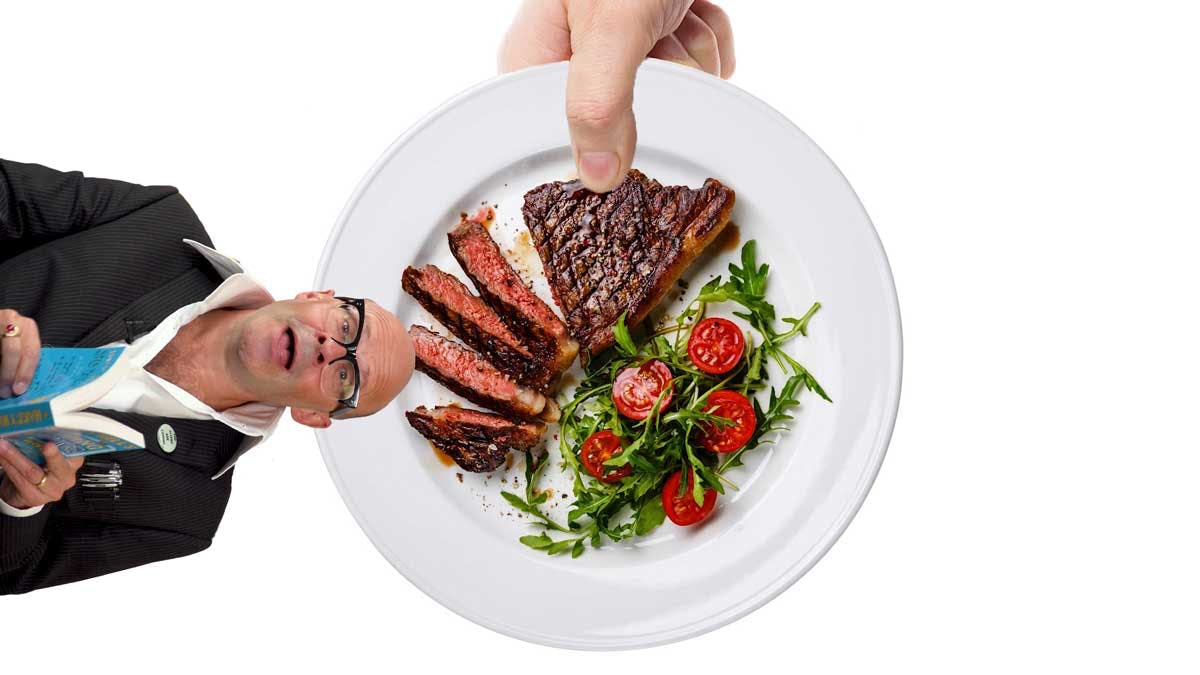 Thumb on steak