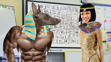 History Teacher dressed as Cleopatra and her dog dressed as Anubis