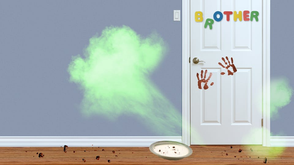 A big fart coming out of the bottom of your brother's bedroom door. There are chocolate cake crumbs everywhere