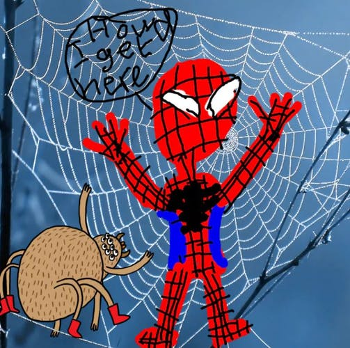 Spiderman stuck in a spiders web - Complete the Drawing