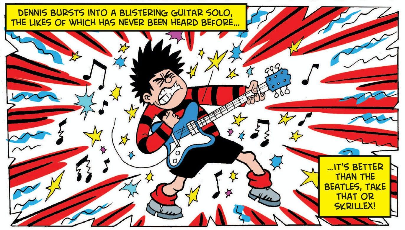 Dennis the Menace playing guitar, Beano 3890
