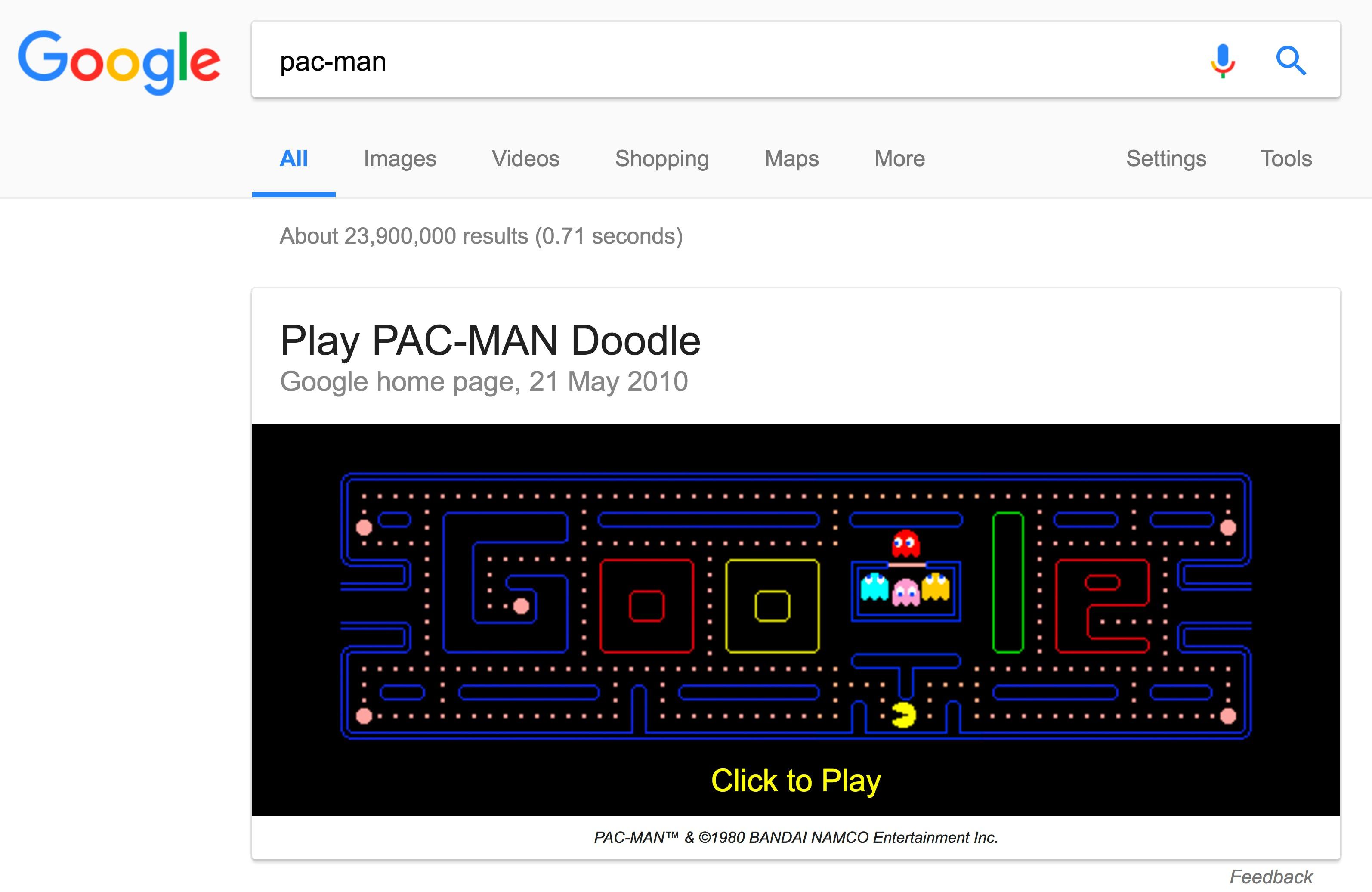 Pac-man in Google