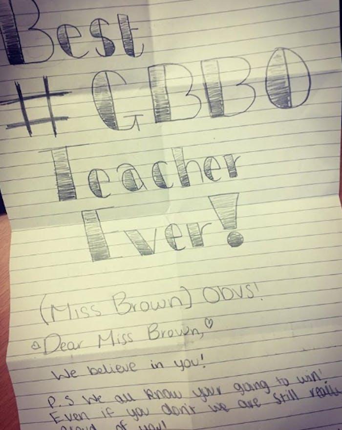 GBBO winner Candice Brown's teacher note