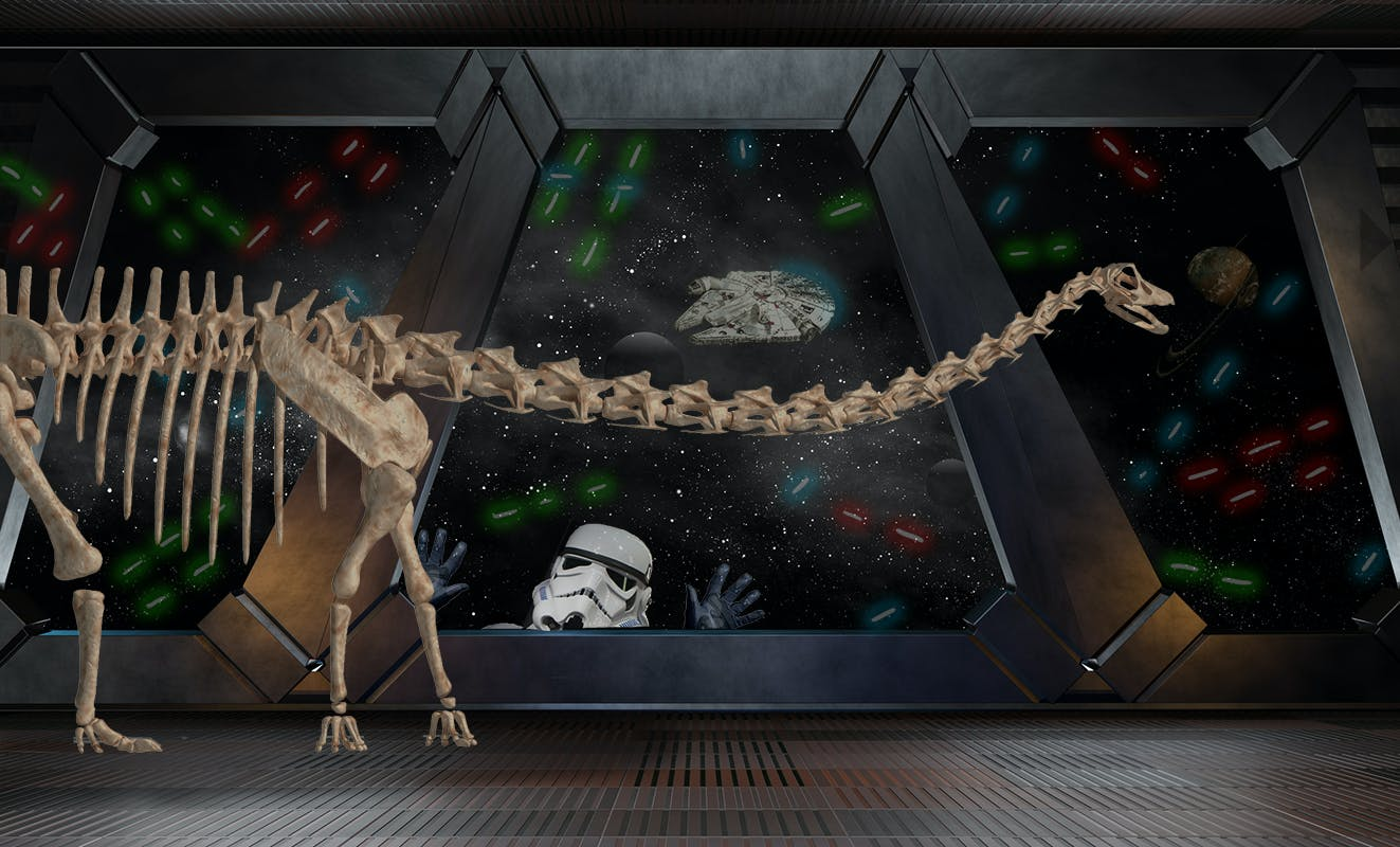 Dippy the dinosaur in a star war