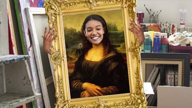Art teacher dressed as the Mona Lisa