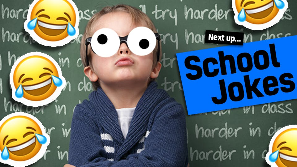 A boy in front of a blackboard with laughing face emojies and the words funny school jokes - link from teacher jokes.