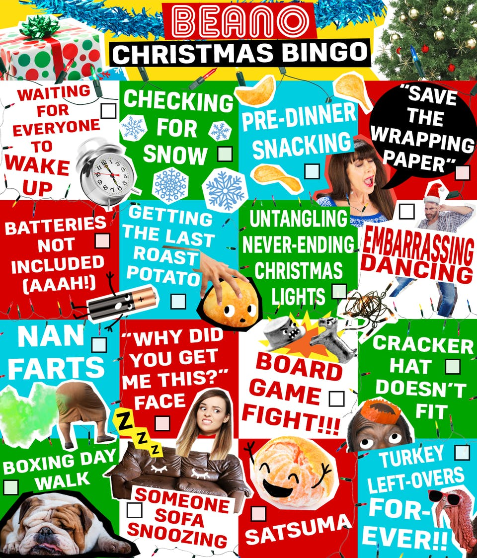 Beano Christmas Bingo Card