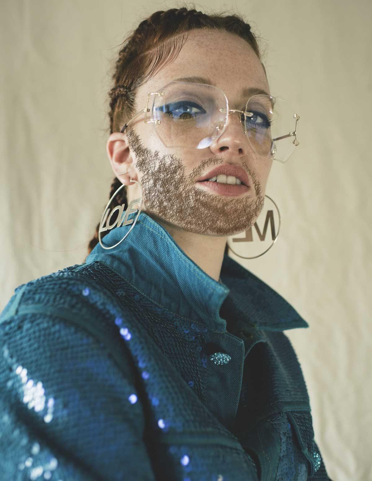 Jess Glynne with a beard