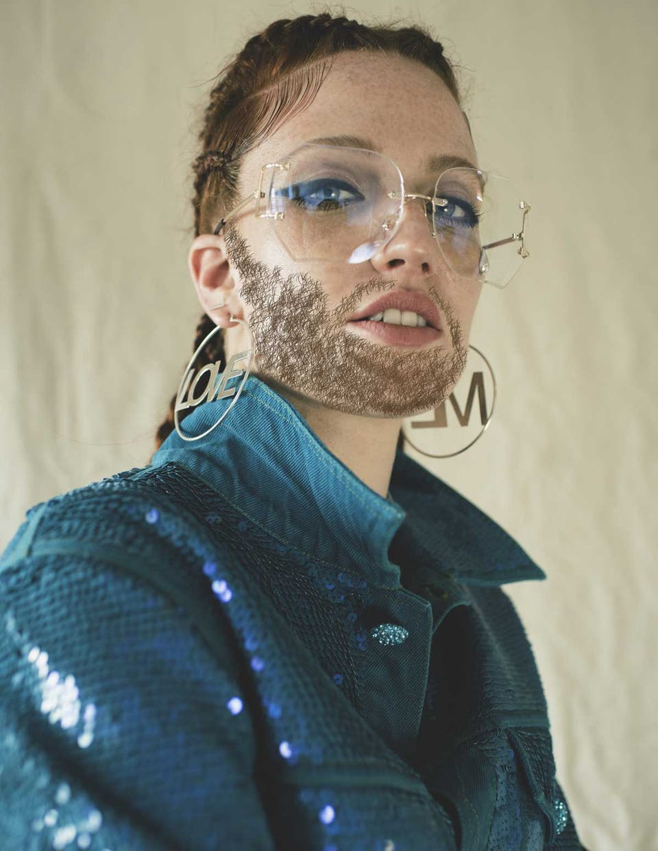 Jess Glynne with a beard