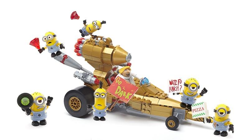 Dru in his transforming car and minions mega construx