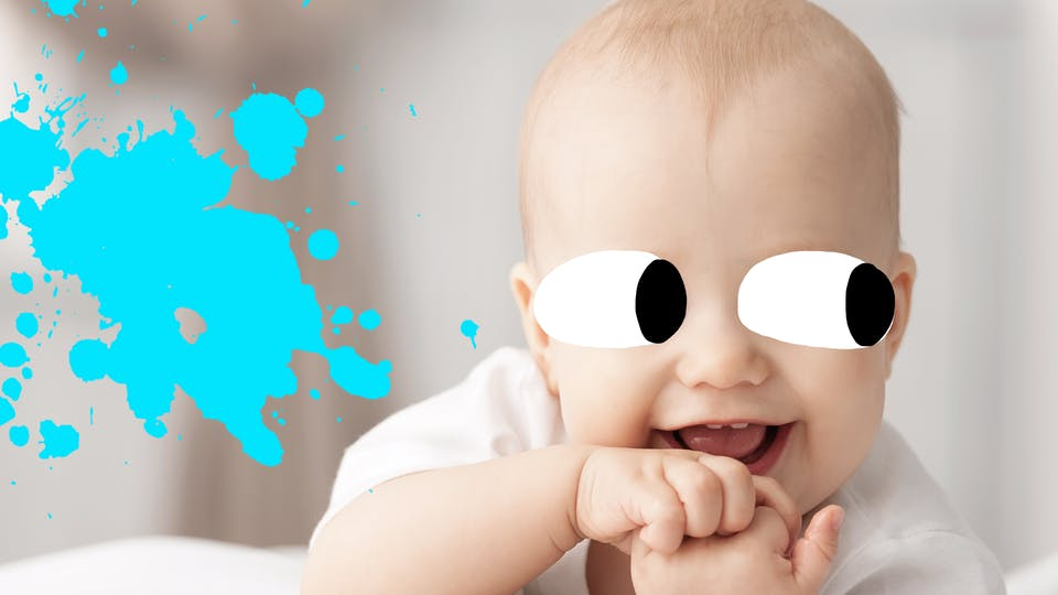 Baby and blue splat