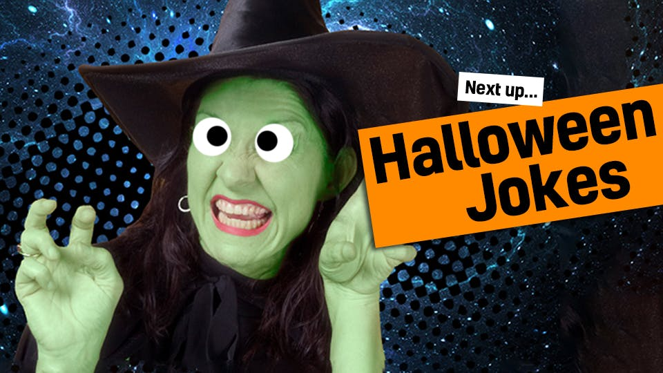 A witch laughing at a funny Halloween joke - link through to our Halloween jokes from monster jokes