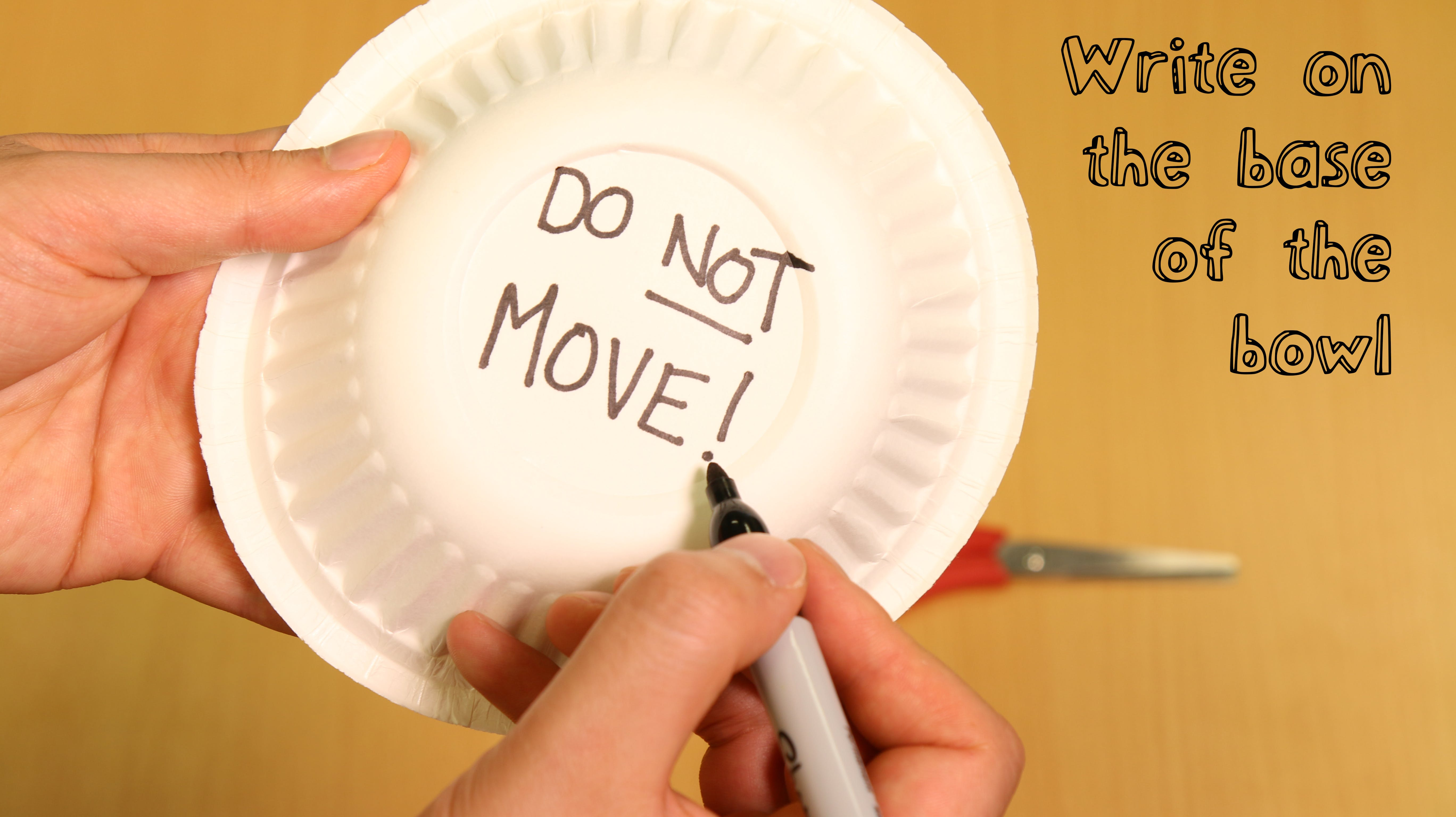 "Underneath the bowl, write ""Do NOT Move!"" in felt tip pen."