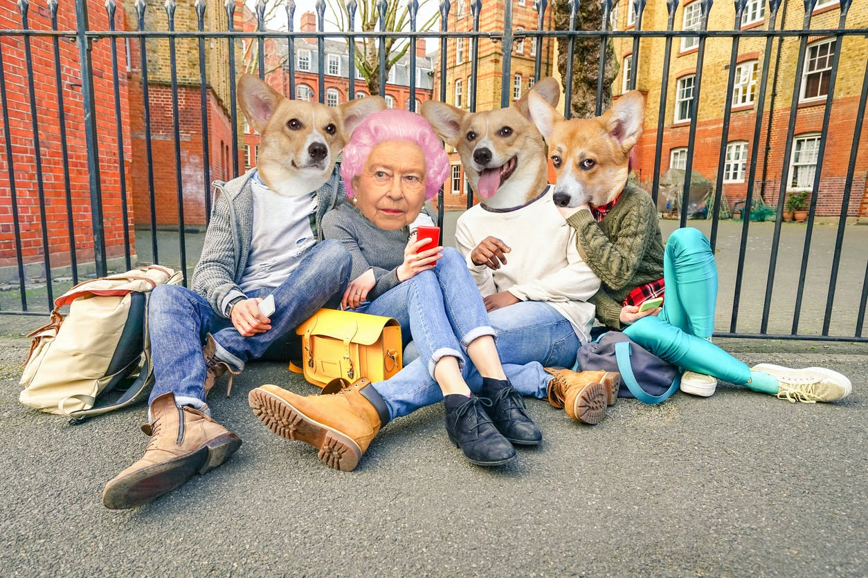 The Queen as a teenager, hanging out with her friends who are corgis
